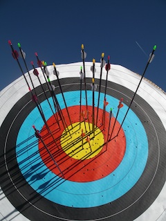 Picture of high scoring arrows in target