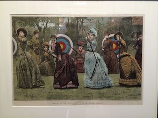 Victorian print of ladies practising archery