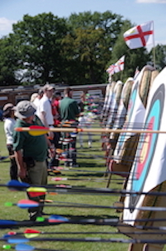 Archers scoring arrows at the 3-way friendly at Warlingham Archery Club